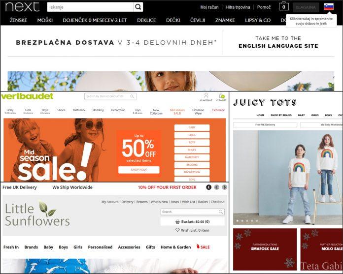 Spletne trgovine otroška oblačila seznam